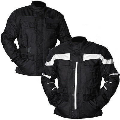 New Mens Black Grey Motorcycle Jacket Textile CE Armoured Motorbike Waterproof