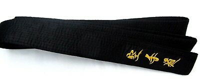 Karate Black Belt SATIN With (MATSUMOTO) Embroidery in Japanese 300cmX4.75cm