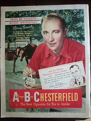 1950 Chesterfield Cigarettes Bing Crosby Riding High Movie Color Ad