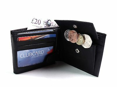 MENS HIGH QUALITY SOFT REAL BLACK LEATHER WALLET CREDIT CARD HOLDER COIN POUCH