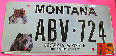 2003 Montana Grizzly & Wolf Discovery Center Graphic License Plate ABV 724