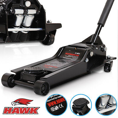 Hawk 3 Ton Super Low Entry Hydraulic Twin Piston Car Van 4X4 Garage Trolley Jack