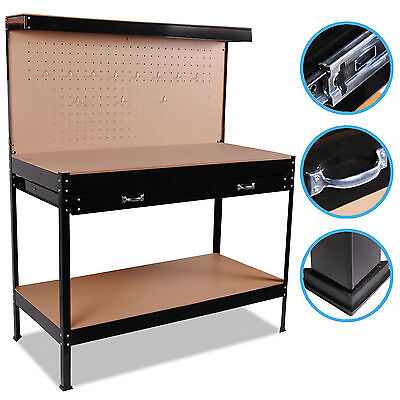 Heavy Duty Home Workshop Tool Pegboard Storage Black Work Table Bench Station