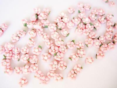 30 Hand Made Pink/White 2 Tone Mini Clay Flower 4D Rose/Doll/Craft/Rose B24-4mm