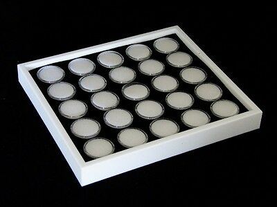 GEM TRAY STACKABLE 25 SPACE WHITE FOAM /& WHITE TRAY