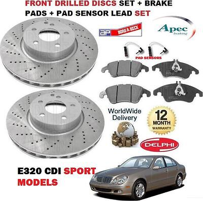 For Mercedes E Class E320 Sport 2003-2009 Front Brake Disc Set + Pads Kit + Lead