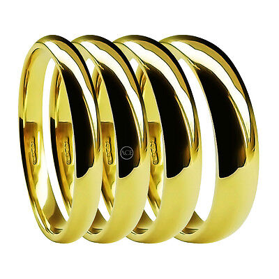 18ct Yellow Gold Wedding Rings Court Comfort 2mm 3mm 4mm 5mm 6mm Medium HM Bands