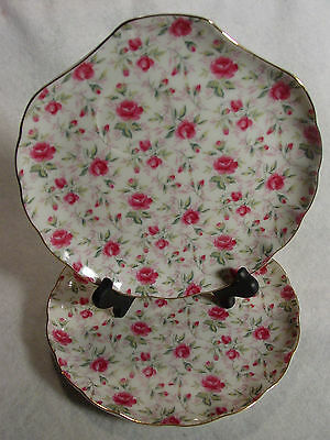 Lefton China 2 snack plates trays Chintz pink roses