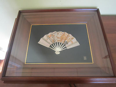 Sterling Silver Japanese Fan hand engraved with Gold inlay, Ohgi by Takehiko