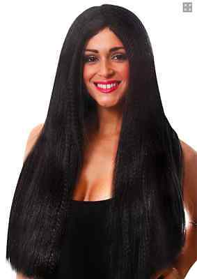 Long Straight Black Wig Halloween Witch Morticia Fancy Dress Costume Cosplay