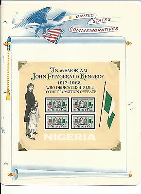 Nigeria, John F. Kennedy Collection on White Ace Pages, #159-161a Stamps & Cover