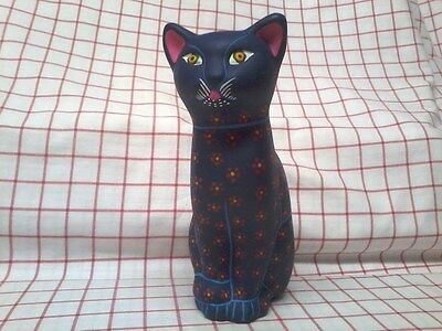 Terra cotta BLUE CAT painted figurine 9 inch tall