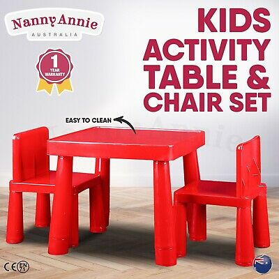 Kids Table & Chair Play Furniture Set Plastic Activity Dining Chairs RED