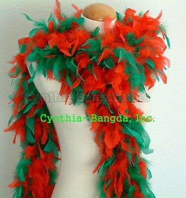 """65g 72""""long Christmas ReD/Green mix Chandelle feather boa for the party, decor"""