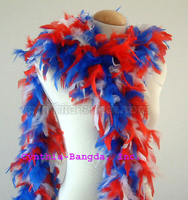 Red /White /Blue mixture 65 Grams Chandelle Feather Boa Party Halloween Costume