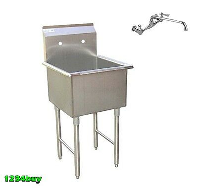 """Combo1 18""""x18"""" S/S Prep Sink  with 8"""" No Lead Faucet ETL SEE18181P+ AA-708G"""