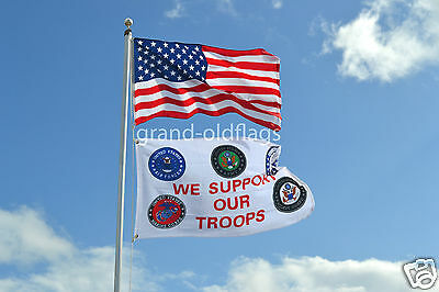 LOT 3' X 5' U.S.  AMERICAN & US  WE SUPPORT OUR TROOPS  FLAG 3X5