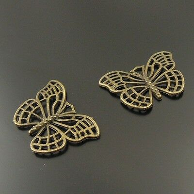 60X Antiqued Style Bronze Tone Small Butterfly Pendant Findings Charms 26*18*2mm