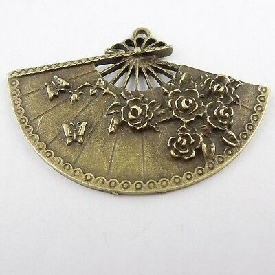 8X Antiqued Style Bronze Tone Fan Pendant Findings Charms 54*35*4mm