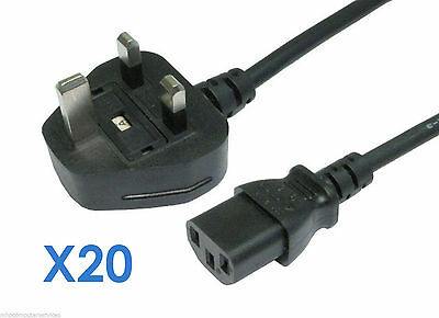 Lot of 20 x PC Monitor IEC UK Mains C13 POWER CABLE 2m