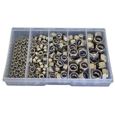Qty 190 Hex Nyloc Nut Kit M5 M6 M8 M10 M12 Stainless Steel 304 Grade SS #184