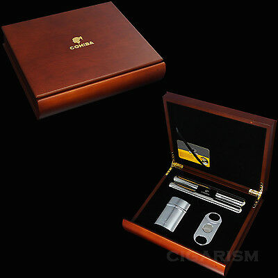 COHIBA Red Sandal Wood Cigar Humidor Cutter Lighter Tube Set W/Gift Box