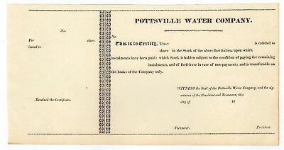 Pottsville Water Company Stock Certificate