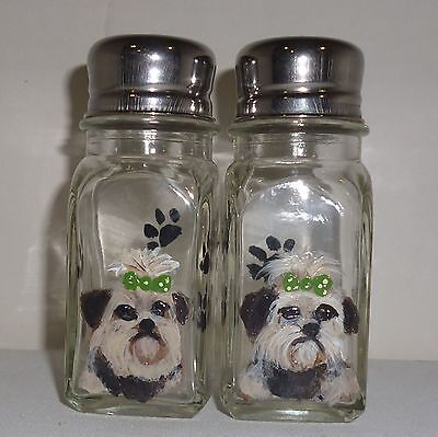 Hand Painted Yorkshire Terrier Yorkie Dog Glass Salt & Pepper Shakers