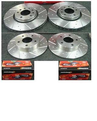 Vauxhall Vectra B 1995-2002 Dimpled  Grooved Brake Discs Mintex Pads Front Rear
