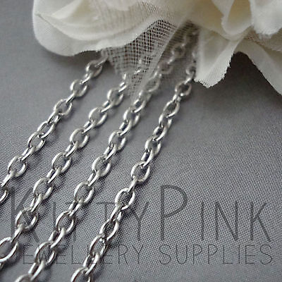 10 Metres Silver Tone Cable Jewellery Chain 4 x 3mm Necklace WHOLESALE BULK