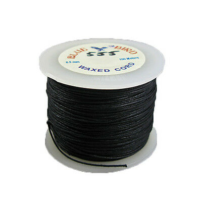 0.5mm Black Braided Cotton Cord