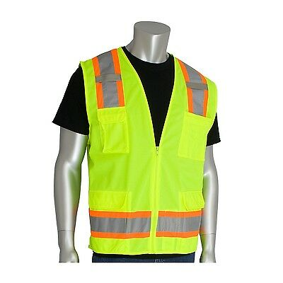HI-VIS SOLID FRONT, MESH BACK CLASS 2 VEST STYLE #302-0500 YEL (LOT OF TWO'S)