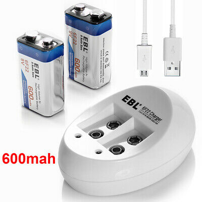 2x 9V 600mAh Li-ion Rechargeable Battery + Lithium-ion NiMH Charger for 9-Volt