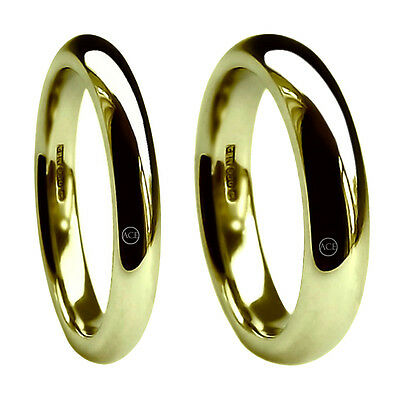 9ct Yellow Gold Court Comfort Wedding Rings 3&6mm X Heavy 12.8g 375 UK HM Bands