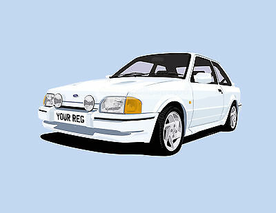 Ford Escort Rs Turbo Car Art Print (Size A4). Personalise It!