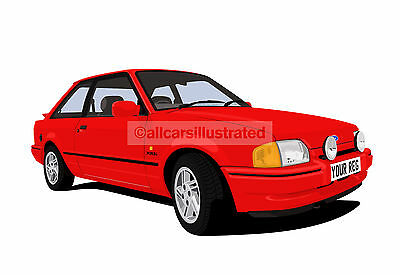 FORD ESCORT XR3i MK4 CAR ART PRINT (SIZE A4). CHOOSE CAR COLOUR, ADD REG DETAILS