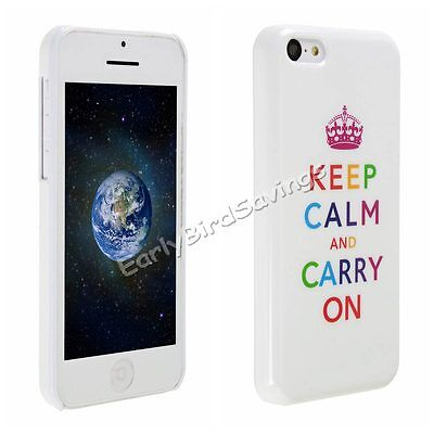 Cute Keep Calm and Carry On White Hard Skin Case Cover for Apple iPhone 5C Lite