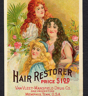 La Creole Hair Restorer Cure VanVleet-Mansfield Drug Memphis TN South Trade Card