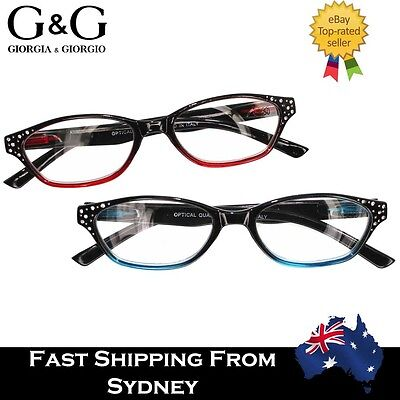 Young G&G Women Fashion Cat Eye Reading Glasses Blue Red 1.0 1.5 2.0 2.5 3.0 3.5