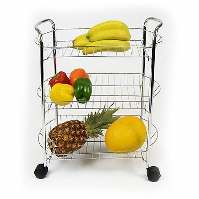 3 Tier Chrome Fruit Vegetable Rack W/wheels Kitchen Storage Stand Cart Trolley