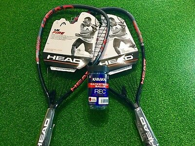 2 x Head MX Fire Racquetball Racketball rackets (with free balls & covers)