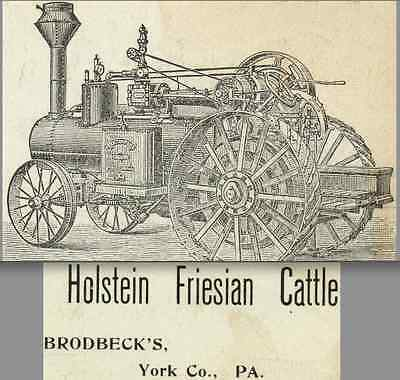 1800s Frick Traction Tractor Myers Green Ridge PA Holstein Cattle Cow Trade Card