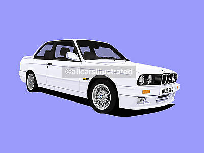 Bmw 3 Series E30 Car Art Print Picture (Size A4). Personalise It!