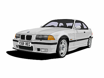Bmw M3 E36 Graphic Car Art Print Picture (Size A4). Personalise It!
