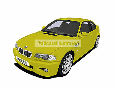 Bmw M3 E46 Graphic Car Art Print Picture (Size A4). Personalise It!