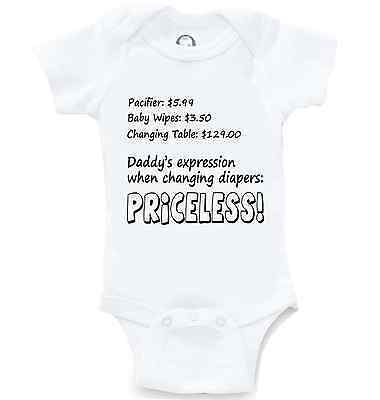 Priceless Daddy Changing Diapers Funny Onesie Cute Baby Shower Gift Creeper