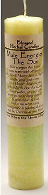 """7"""" Coventry Creations MALE ENERGIES Sun God BLESSED HERBAL PILLAR CANDLE Wicca"""