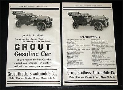 1907 Old Magazine Print Ad, Grout Brothers Automobiles, Gasoline Car, The Best!