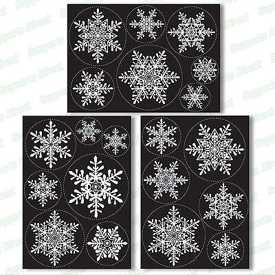 20 Large Snowflake Window Clings Reusable Stickers Simple Christmas Decorations