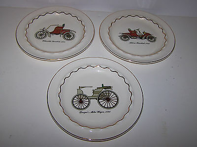 SET OF 3 VINTAGE AUTOMOBILE  HARKERWARE U.S.A COLLECTOR  PLATE/ASHTRAY